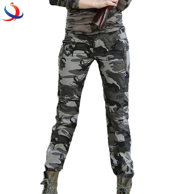 Summer Cotton Elegant Plus Size Military Camouflage Women Jogger Pants
