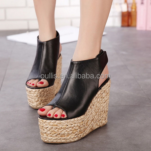 2015 Beautiful flower design wedge sandals high quality low price wedge heel sandals PQ3813
