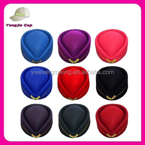 Mulit Color airline uniform Stewardess hat Ladies Air Stewardess Wool Felt astronant cap