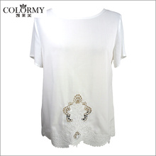 Lady rayon pure white blouse special hollow out embroidery designs ladies tops