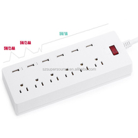 6 USB 6 Outlet Convenient Outlet Desktop Power Socket ,Electronics Smart Power Strip with USB for US FCC certified