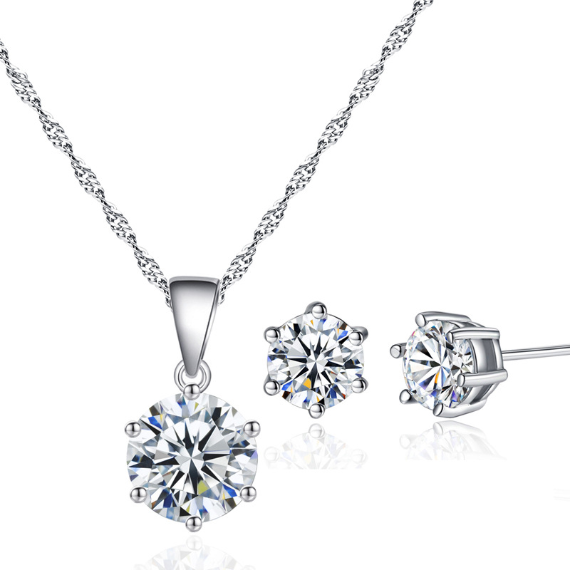 Classic AAA round cubic zirconia six claw necklace and earrings Jewelry <strong>Set</strong> For Party