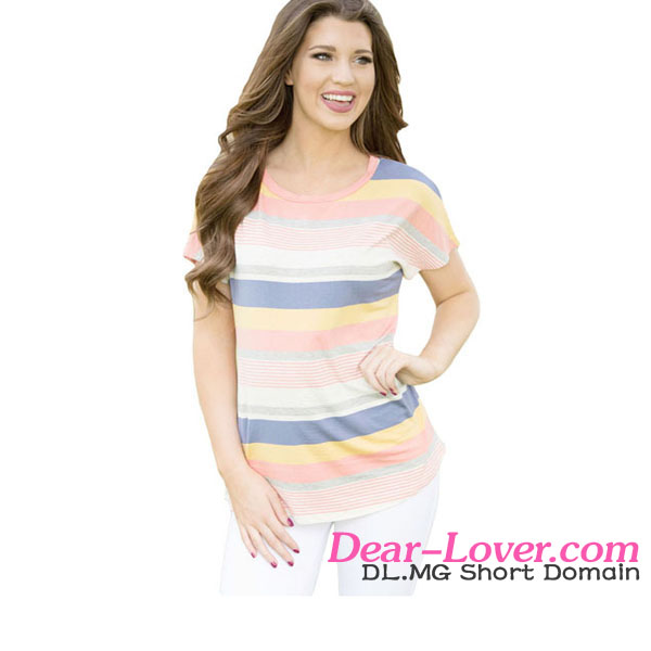 Women's Cotton Bright Striped Short Sleeve <strong>T</strong>-<strong>shirt</strong> for Summer