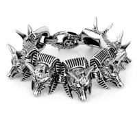 trend 2015 surgical 316L stainless steel personalized animal wolf's heads bracelet for cool men wholesale on line alibaba