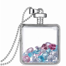 Colorful Fake Crystal Charms Plating Silver Locket Pendant Necklace