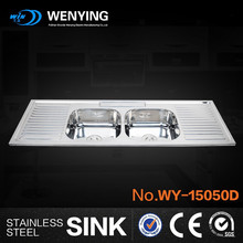 WY15050D Double drainer double bowl kitchen sink big kitchen sink 2 bowl stainless steel sink with drainer