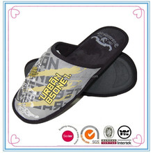 Mens grey microfibre custom letter printing indoor soft sole slipper