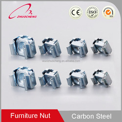 Made In China High Quality China Factory Blue&White Zinc Plated Carbon Steel Square Weld Lock Cage Nuts For Wood Furniture