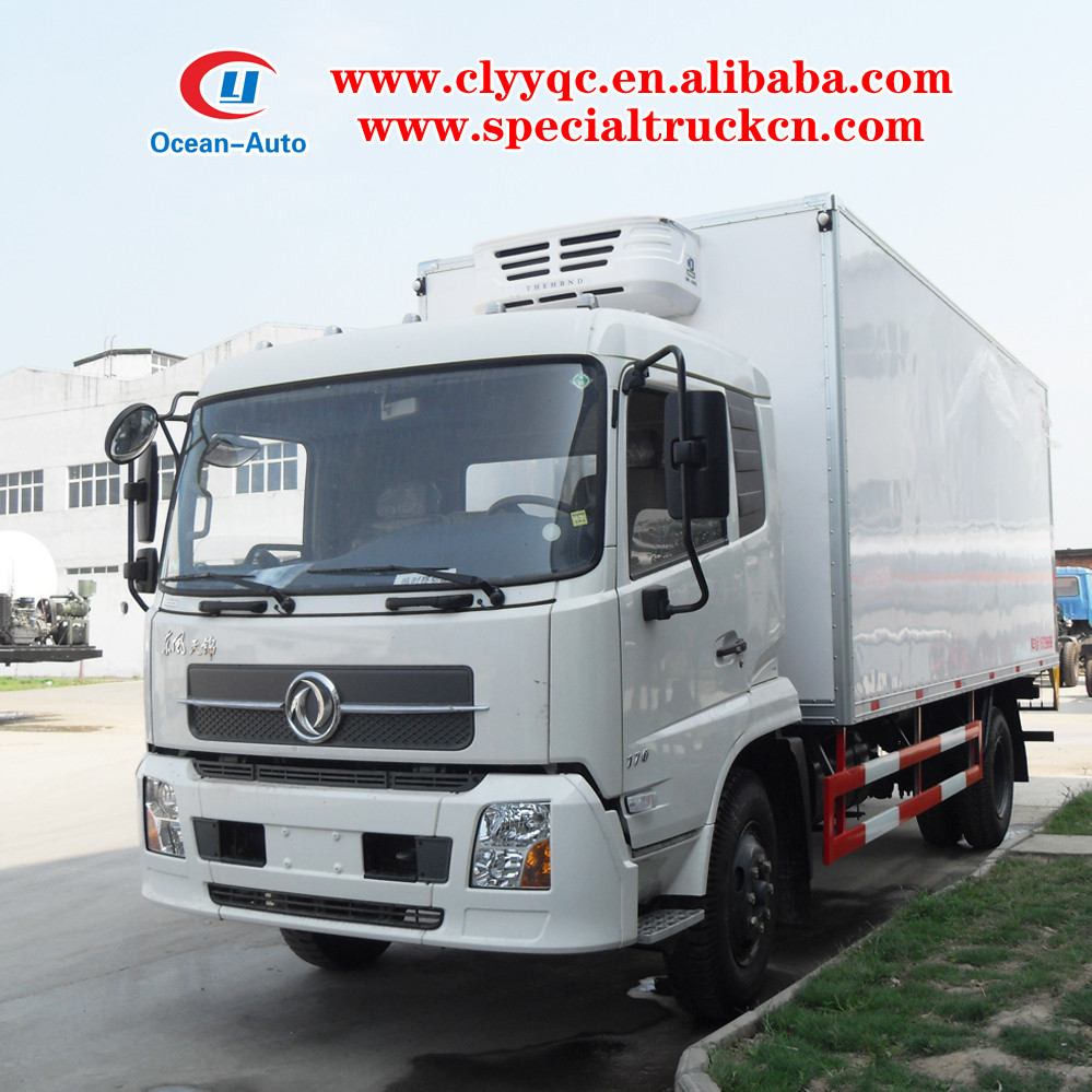 Dongfeng Tianjin 10ton refrigerator cooling van truck for meat and fish