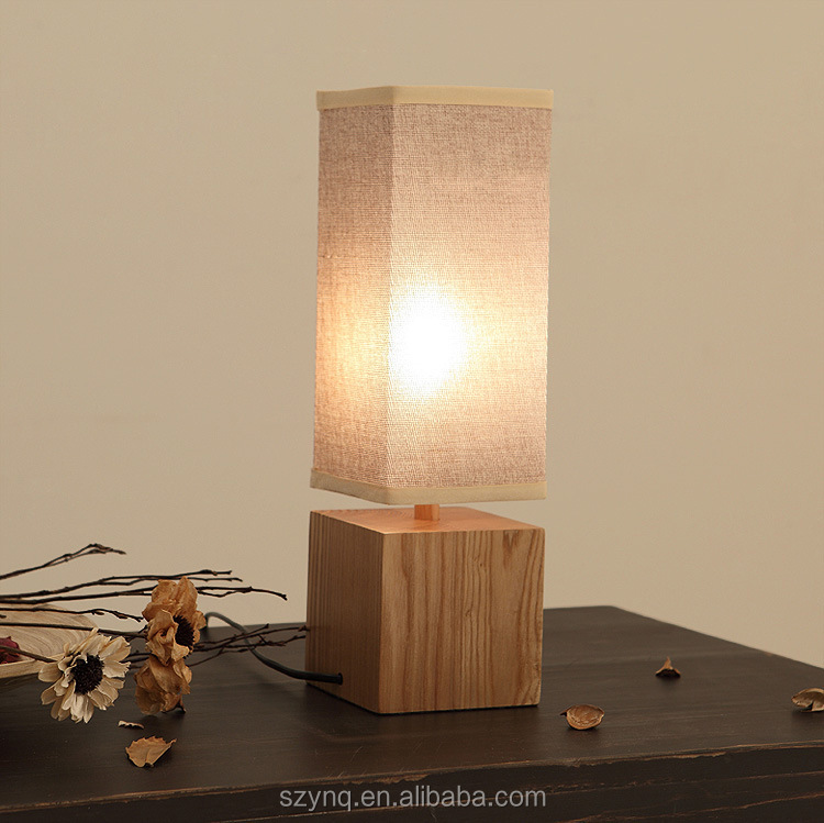 creative square wooden table lamp