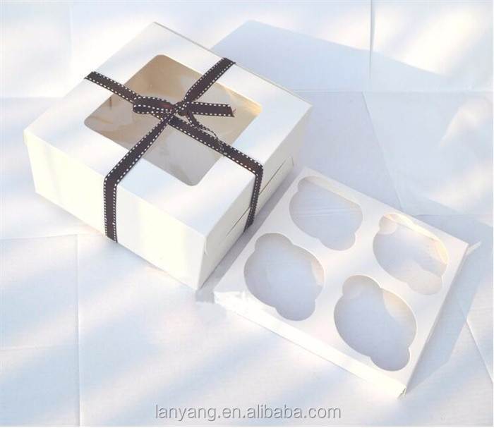 White Cupcake Muffin Box With Clear Window Insert Tray Holds 4 Cakes