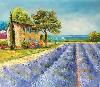 Modern decorative Italy vineyard scenery oil painting on canvas for decoration