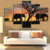 Wish Supplier 5 Panels Print Africa Elephant Canvas Wall Painting Art For Drop Shipping