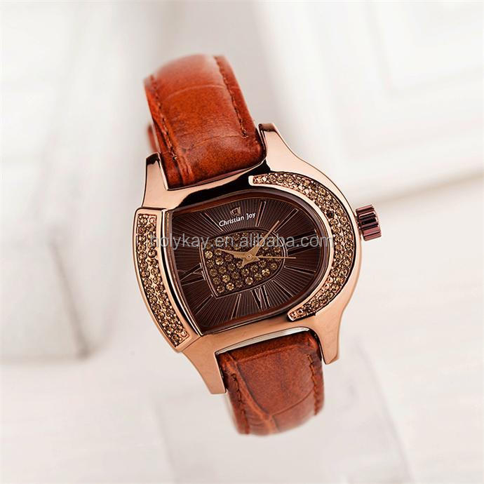 2014 hot sale fashion D shape dial leather watch