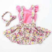 2016 new arrive beautifu baby girls clothes set cotton pink romper matched dress and headband