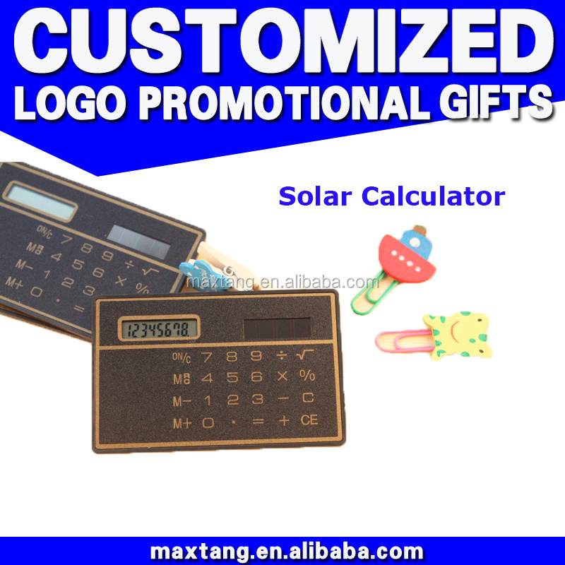 Promotiona gift mini slim card solar power square shape pocket credit card size calculator solar