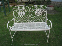 Antique Folding Bench Shabby Chic Style Metal Garden Furniture