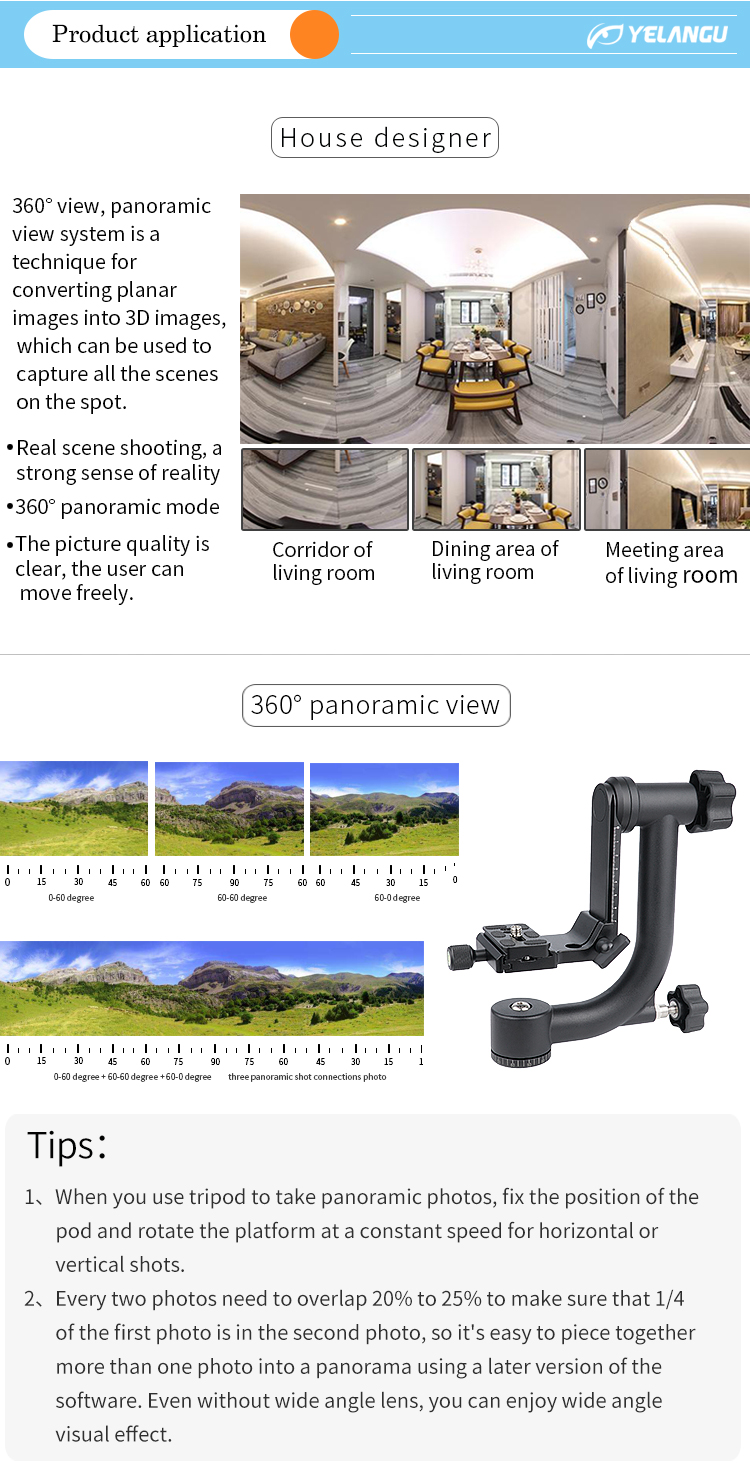 360 Degree Angle Panorama Gimbal Dslr Camera Fluid Tripod Ball Head