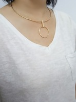 Metal double circle vertical stick pendant necklace jewelry hip hop jewelry choker necklace