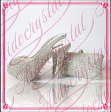 Aidocrystal Sexy Hot evening high heels with stones matching italian shoes and bag set for pretty