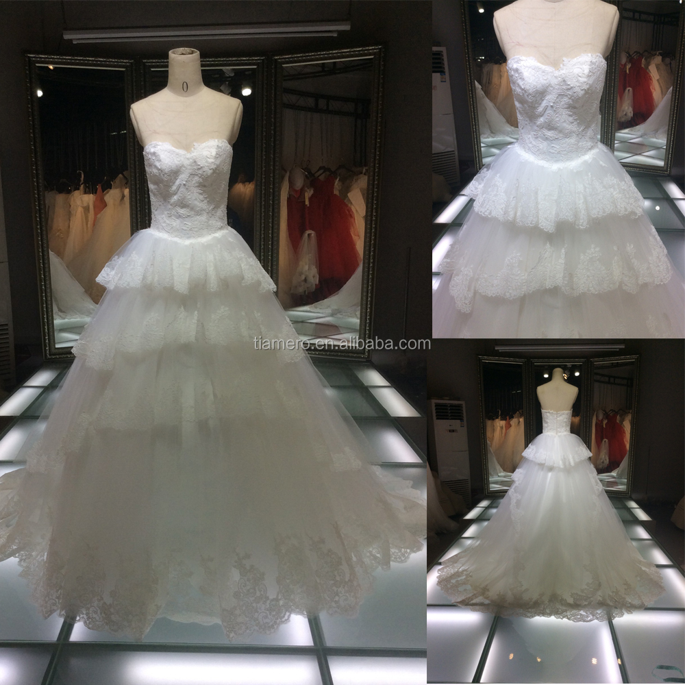 1A048JL 2016 new arrivals cake fashion lace wedding dress made in Guangzhou wedding dresses factory
