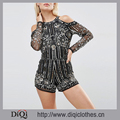 Chic Factory Brand New European Cold Shoulder Mirror Panel Embellished Playsuit
