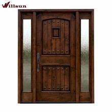 Old fashion wood and wrought iron front entry doors with 2 side lites