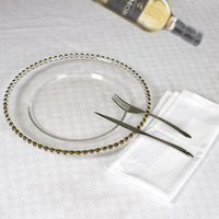 wholesale clear glass plates ,gold glass charger plates beaded in good quality