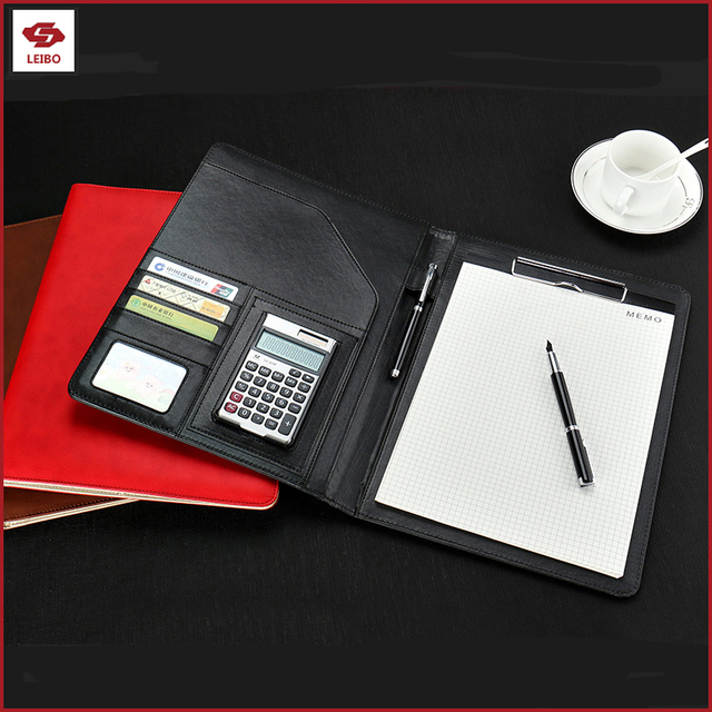 A4 writing notepad pen holder card pocket organizer document calculator pocket agenda leather PU hard cover notebook