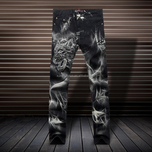 Hottest High Quality Style Printed Cotton Mens Jeans (Tiger Head) Y012