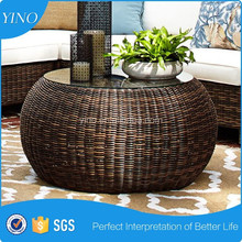 Glass Top Hand Woven Coffee Table All-weather Wicker Round Coffee Table VL1035