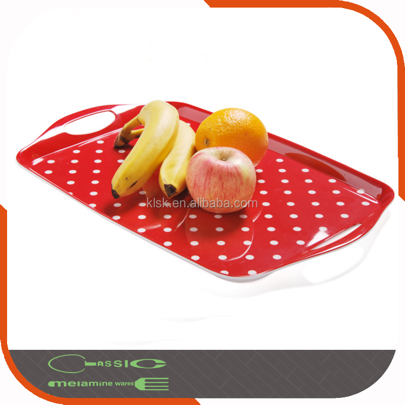 "15"" Classic Wholesale Melamine Serving Tray With Handles"