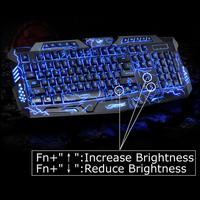 100% Original M200 LED Keyboard 3 Colors Crack Illuminated USB Multimedia PC Gaming Gamer Game keyboards Adjustable LED Backligh