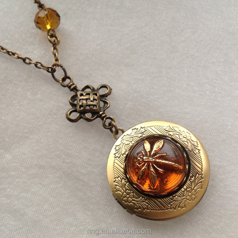 Dragonfly in Amber Celtic Knot Locket Necklace Outlander Czech Glass Necklace Jewelry