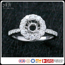 Custom Made Jewelry Certified 18K White Gold Halo Setting White Round 1.00 Carat Diamond Engagement Ring Semi Mounting