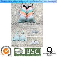 2015 hot sell 100% cotton finish breathable colorful puch up sexy bra confortable