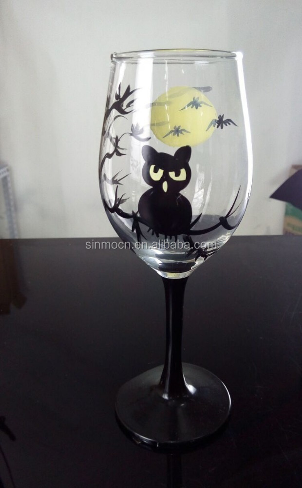400ml colored hand painted globet wine glass