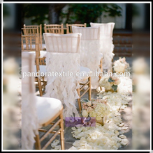Manufacturer supplier lace ruffled chair sashes for banquet