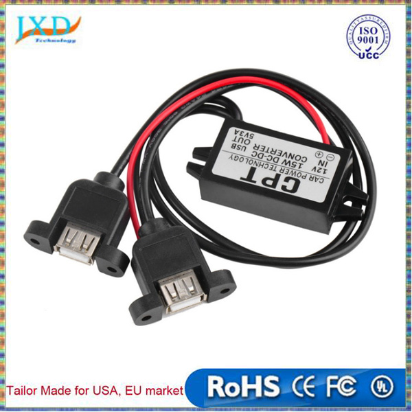 High Quality 1pc DC DC Converter Module 12V To 5V 3A 15W Duble USB Output Power Adapter