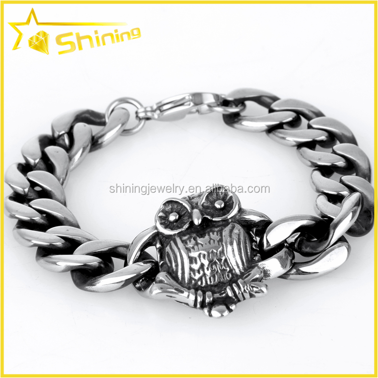 SX0104 Alibaba wholesale lovely jewelry for men women owl charm steel bracelet
