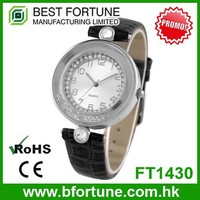FT1430 Factory price trendy stones analog stainless steel back geneva watch