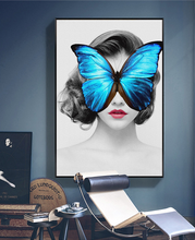 Butterfly Naked Girl China Open Body Sexy Photo Frames Wall Print Deco Wall Art