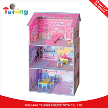 China Factory Wooden toys cheap baby loving family Doll House furniture set for
