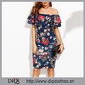 New arrivals stylish casual women Floral Print Short Sleeve Off The Shoulder Ruffle Sheath Dress