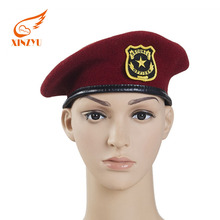 Promotional Bordured Cowhide 100% Wool Maroon Military Beret With Embroidery Badge