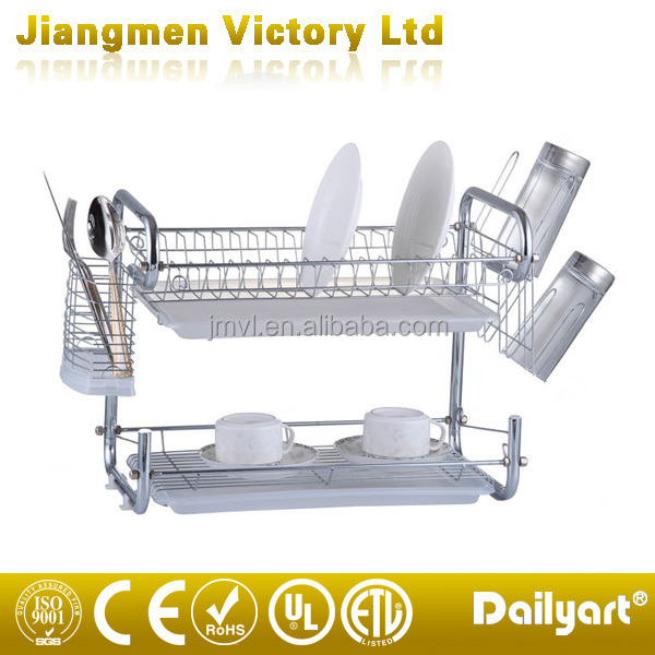 Kitchen chromed plated surface 2 tier wire dish rack