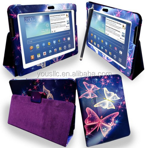 PRINTED LEATHER CASE ,MAGNETIC WALLET LEATHER CASE FOR SAMSUNG GALAXY NOTE 10.1 N8000