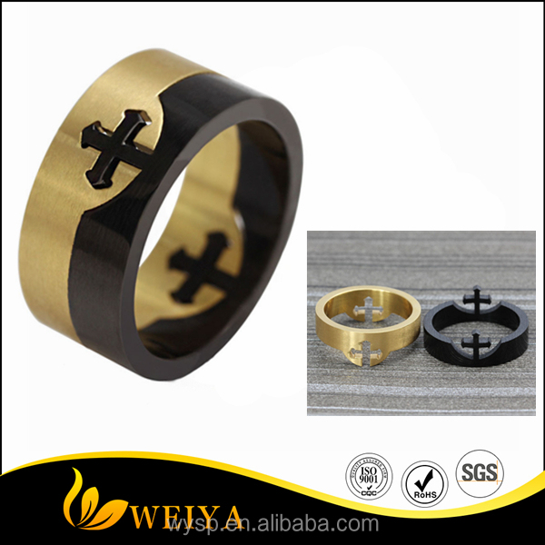 Black And Gold Plated Stainless Steel Sideways Cross Ring Prayer Lord Jesus Christian Wedding Church Titanium Movable Rings