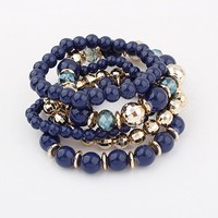 Unique Handmade Multilayer Stretch Glass Bead Bracelets For Women
