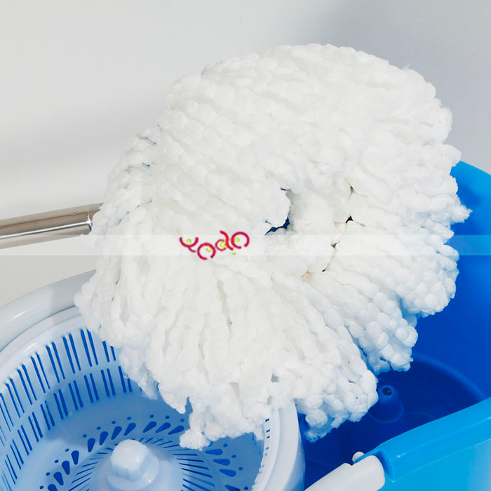 Cleaning Mop 360 Spin Mop With Bucket Dual Mop Heads Blue